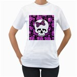 Pink Polka Dot Bow Skull Women s T-Shirt (White) (Two Sided)