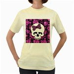 Pink Polka Dot Bow Skull Women s Yellow T-Shirt