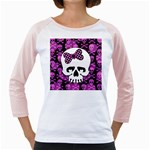 Pink Polka Dot Bow Skull Girly Raglan