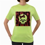 Pink Polka Dot Bow Skull Women s Green T-Shirt