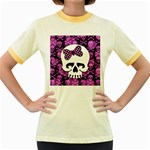 Pink Polka Dot Bow Skull Women s Fitted Ringer T-Shirt