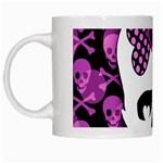 Pink Polka Dot Bow Skull White Mug