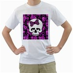 Pink Polka Dot Bow Skull Men s T-Shirt (White) (Two Sided)
