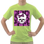 Pink Polka Dot Bow Skull Green T-Shirt