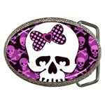 Pink Polka Dot Bow Skull Belt Buckle