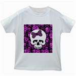 Pink Polka Dot Bow Skull Kids  White T-Shirt