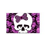 Pink Polka Dot Bow Skull Sticker (Rectangular)