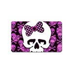 Pink Polka Dot Bow Skull Magnet (Name Card)