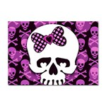 Pink Polka Dot Bow Skull Sticker A4 (100 pack)