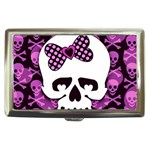 Pink Polka Dot Bow Skull Cigarette Money Case