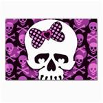 Pink Polka Dot Bow Skull Postcard 5  x 7