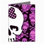 Pink Polka Dot Bow Skull Greeting Cards (Pkg of 8)