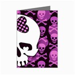 Pink Polka Dot Bow Skull Mini Greeting Card