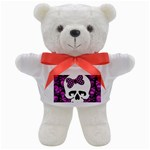 Pink Polka Dot Bow Skull Teddy Bear