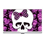 Pink Polka Dot Bow Skull Business Card Holder