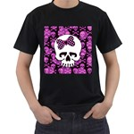 Pink Polka Dot Bow Skull Men s T-Shirt (Black) (Two Sided)