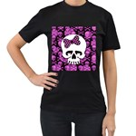 Pink Polka Dot Bow Skull Women s T-Shirt (Black) (Two Sided)