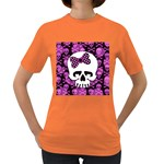 Pink Polka Dot Bow Skull Women s Dark T-Shirt
