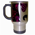 Pink Polka Dot Bow Skull Travel Mug (Silver Gray)