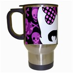 Pink Polka Dot Bow Skull Travel Mug (White)