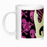 Pink Polka Dot Bow Skull Night Luminous Mug
