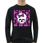 Pink Polka Dot Bow Skull Long Sleeve Dark T-Shirt