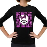 Pink Polka Dot Bow Skull Women s Long Sleeve Dark T-Shirt