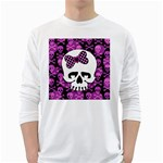 Pink Polka Dot Bow Skull Long Sleeve T-Shirt