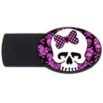 Pink Polka Dot Bow Skull USB Flash Drive Oval (4 GB)