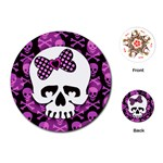 Pink Polka Dot Bow Skull Playing Cards Single Design (Round)