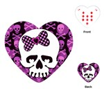 Pink Polka Dot Bow Skull Playing Cards Single Design (Heart)