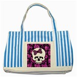 Pink Polka Dot Bow Skull Striped Blue Tote Bag