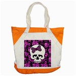 Pink Polka Dot Bow Skull Accent Tote Bag