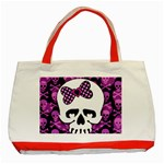 Pink Polka Dot Bow Skull Classic Tote Bag (Red)