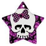 Pink Polka Dot Bow Skull Star Ornament (Two Sides)
