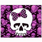Pink Polka Dot Bow Skull Canvas 8  x 10