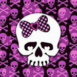 Pink Polka Dot Bow Skull Canvas 12  x 12