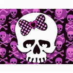 Pink Polka Dot Bow Skull Canvas 12  x 16