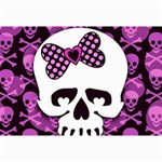 Pink Polka Dot Bow Skull Canvas 12  x 18