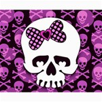 Pink Polka Dot Bow Skull Canvas 16  x 20