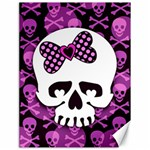 Pink Polka Dot Bow Skull Canvas 18  x 24