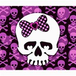 Pink Polka Dot Bow Skull Canvas 20  x 24
