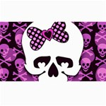 Pink Polka Dot Bow Skull Canvas 40  x 72