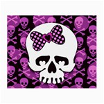 Pink Polka Dot Bow Skull Small Glasses Cloth (2 Sides)