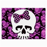 Pink Polka Dot Bow Skull Large Glasses Cloth