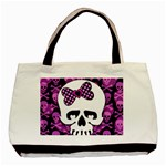 Pink Polka Dot Bow Skull Basic Tote Bag (Two Sides)
