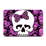 Pink Polka Dot Bow Skull Small Doormat