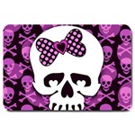 Pink Polka Dot Bow Skull Large Doormat