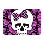 Pink Polka Dot Bow Skull Plate Mat