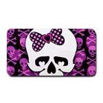Pink Polka Dot Bow Skull Medium Bar Mat